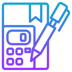 virtual graphic in blue showing a book and pen