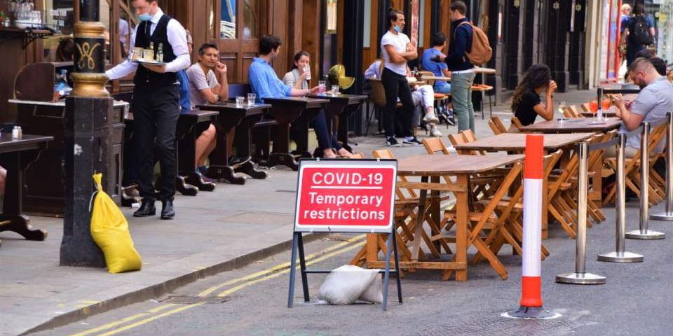 Covid-19 Temporary Restrictions sign outside restaurants and bars