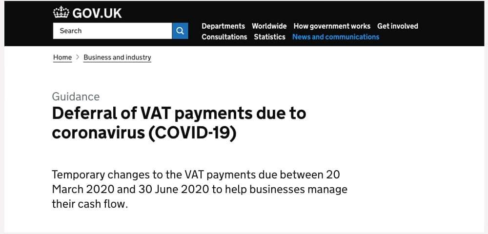 GOV.UK Deferral of VAT payments notice